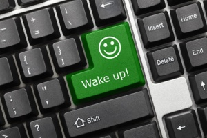 Conceptual keyboard - Wake up (green key with smiley symbol)