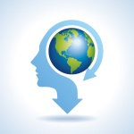 Illustration of world map in human head, vector